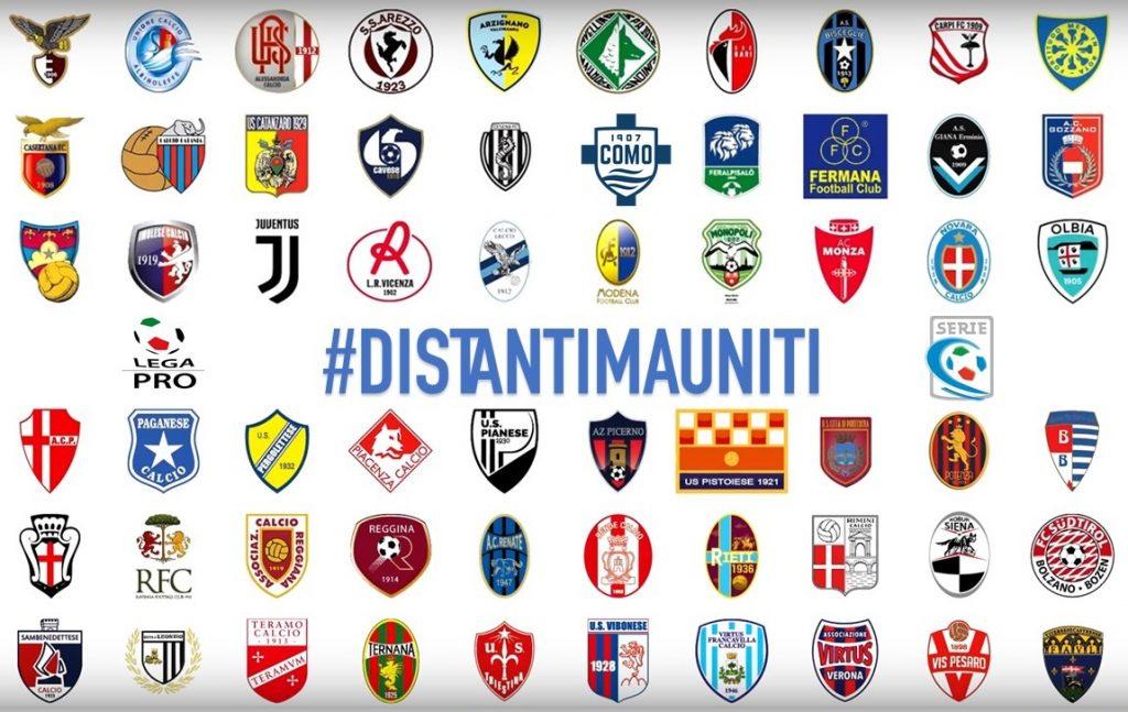 I loghi delle squadre di Lega Pro con il tweet #distantimauniti