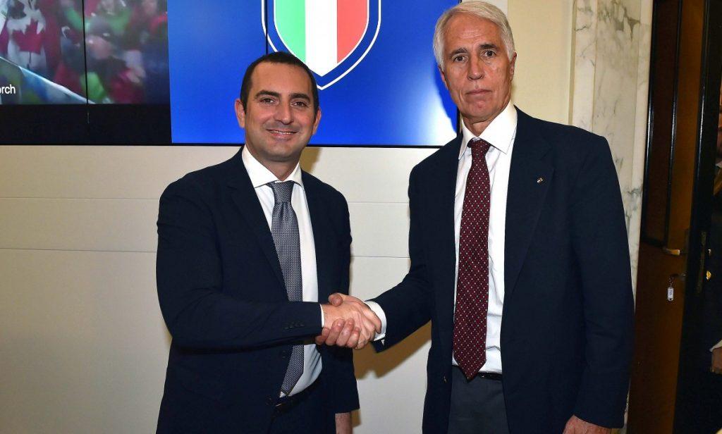 Il ministro dello sport Spadafora con il presidente Coni Malagò